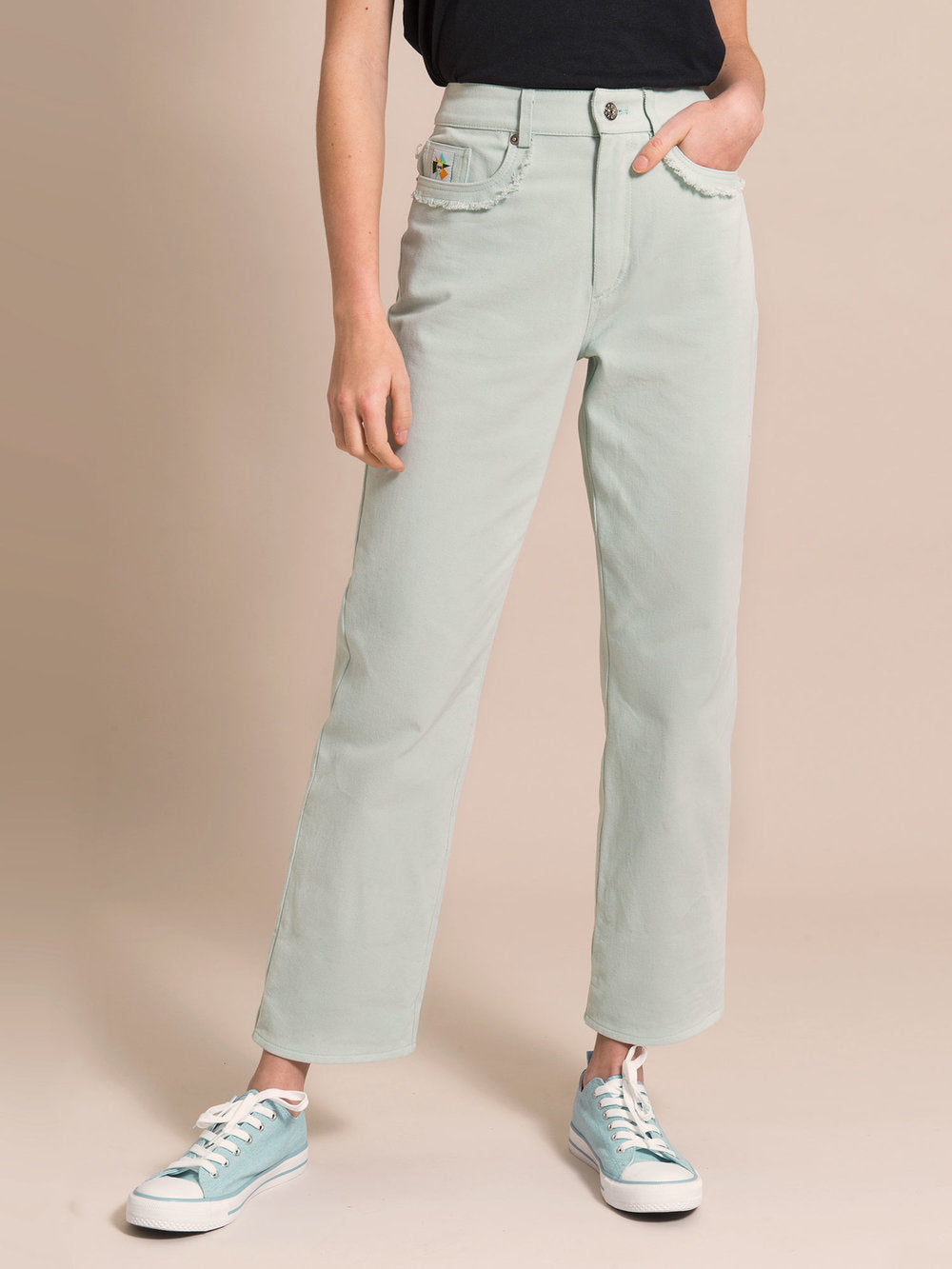 Light blue mom's jeans with frayed details around the pockets