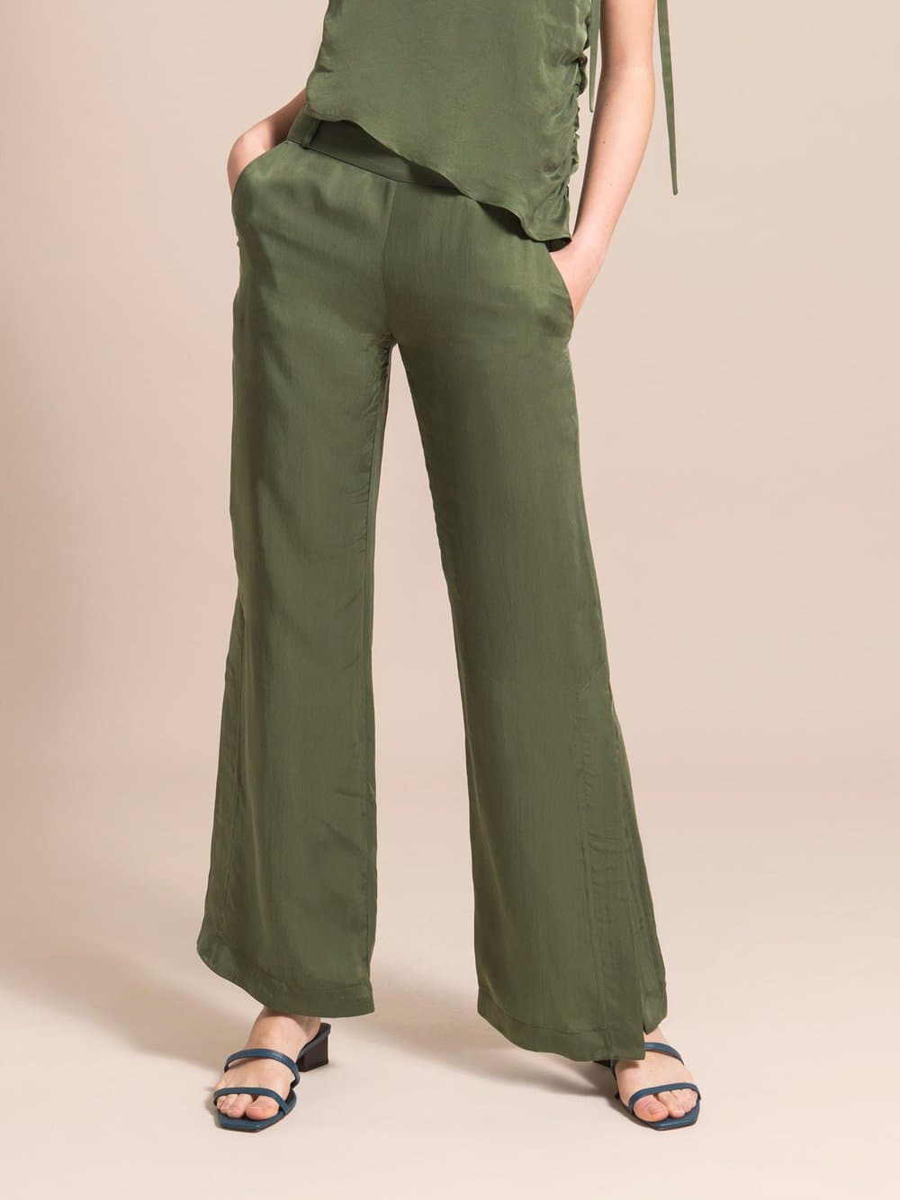 Military green sustainable flared trousers