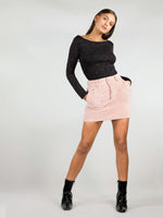 Size XS flirty pink corduroy skirt. It has mini length, two front large pockets, belt loops and a woven logo on the left pocket. 100% organic cotton, stretchy and comfortable fit.