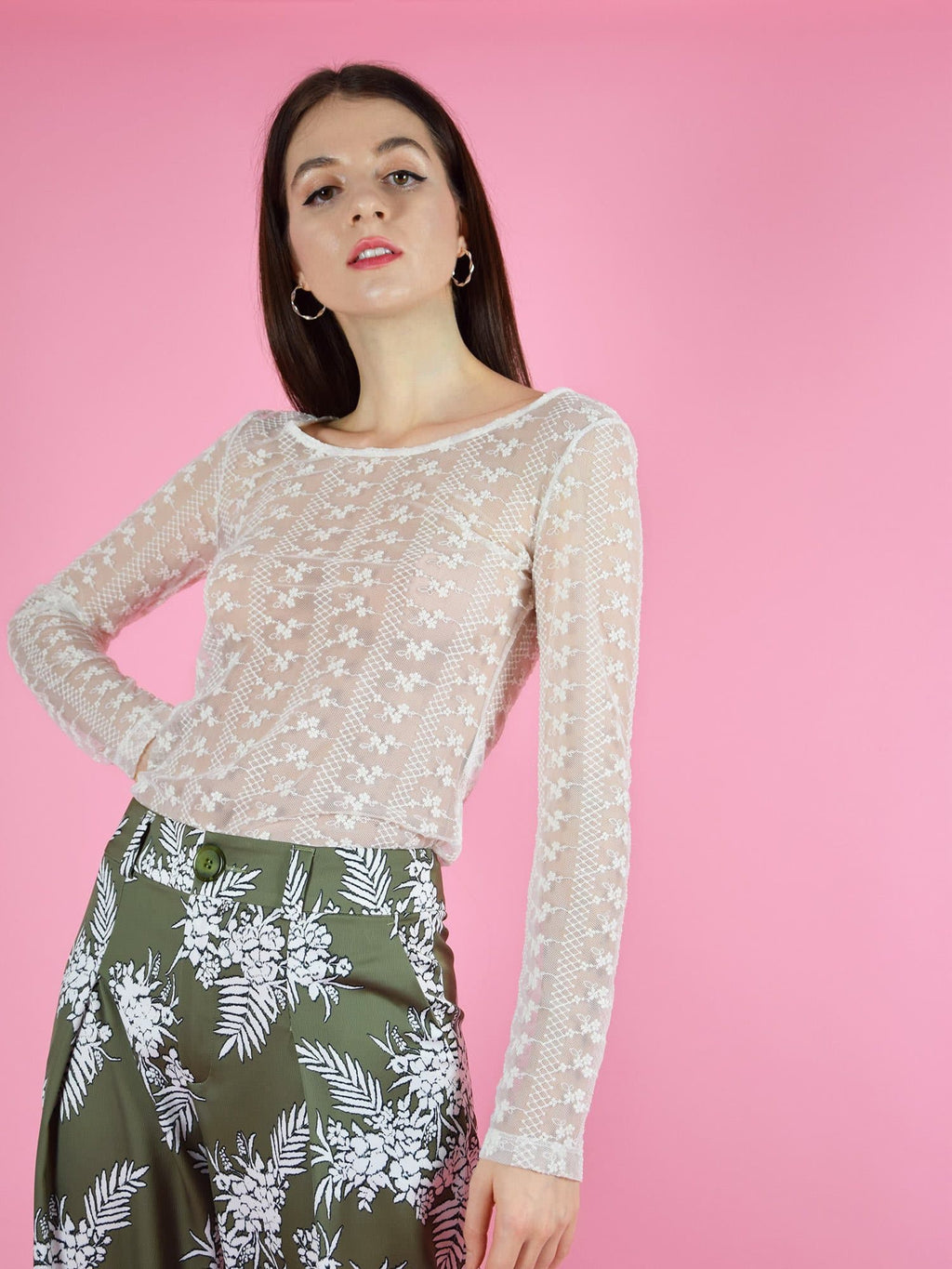 blonde gone rogue's daisy long sleeve lace top in white