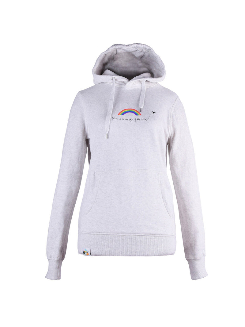 Organic cotton unisex grey hoodie with print