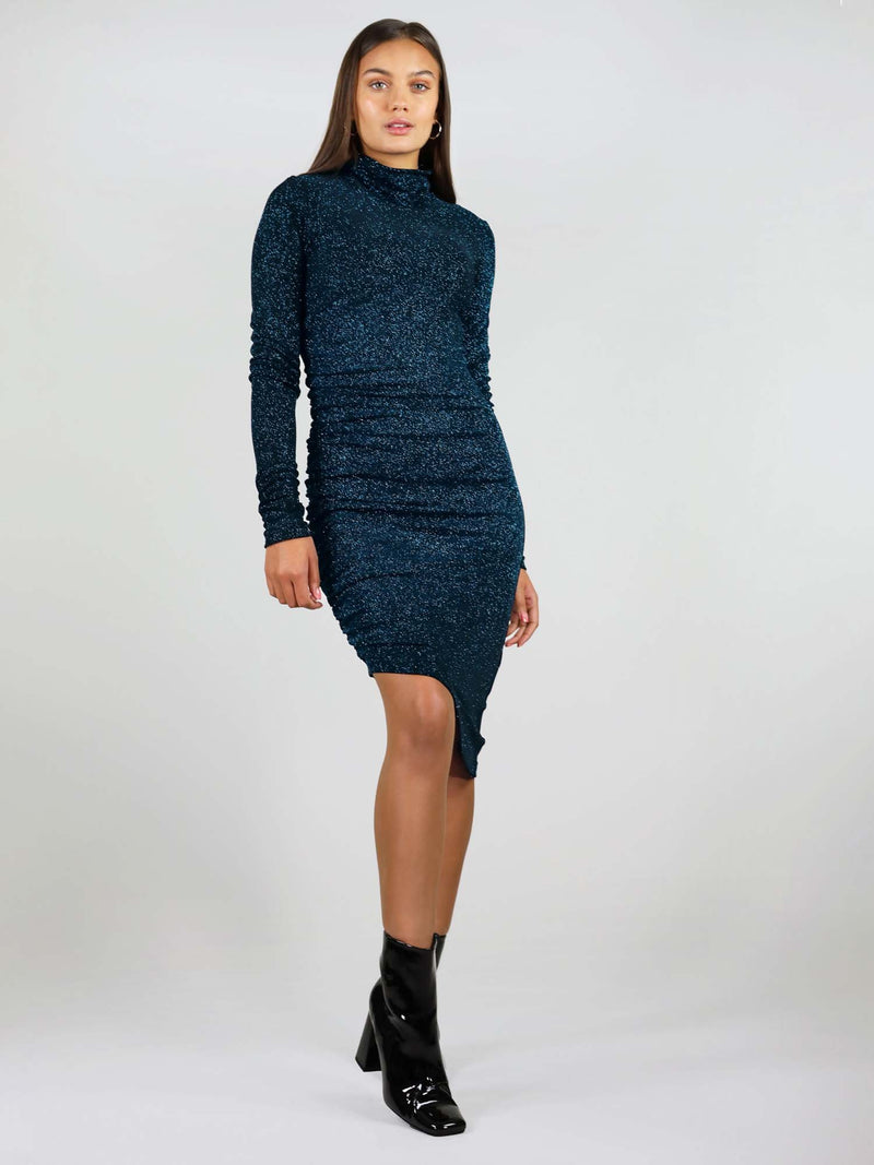 Size XS, new year's dress in sparking teal colour. It has midi length and tight, body con fit. Long sleeves and asymmetric design, along with low turtleneck.