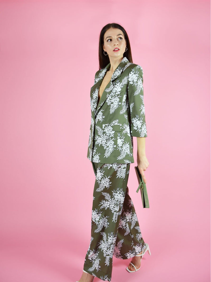 blonde gone rogue's girlboss pant suit in green with white floral print. The trouser suit is perfect for the office and formal occasions.