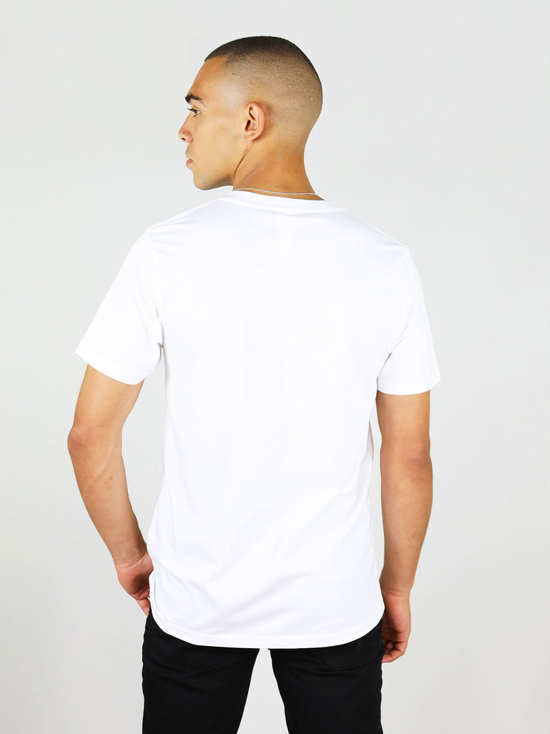 Back of white organic cotton t-shirt for men