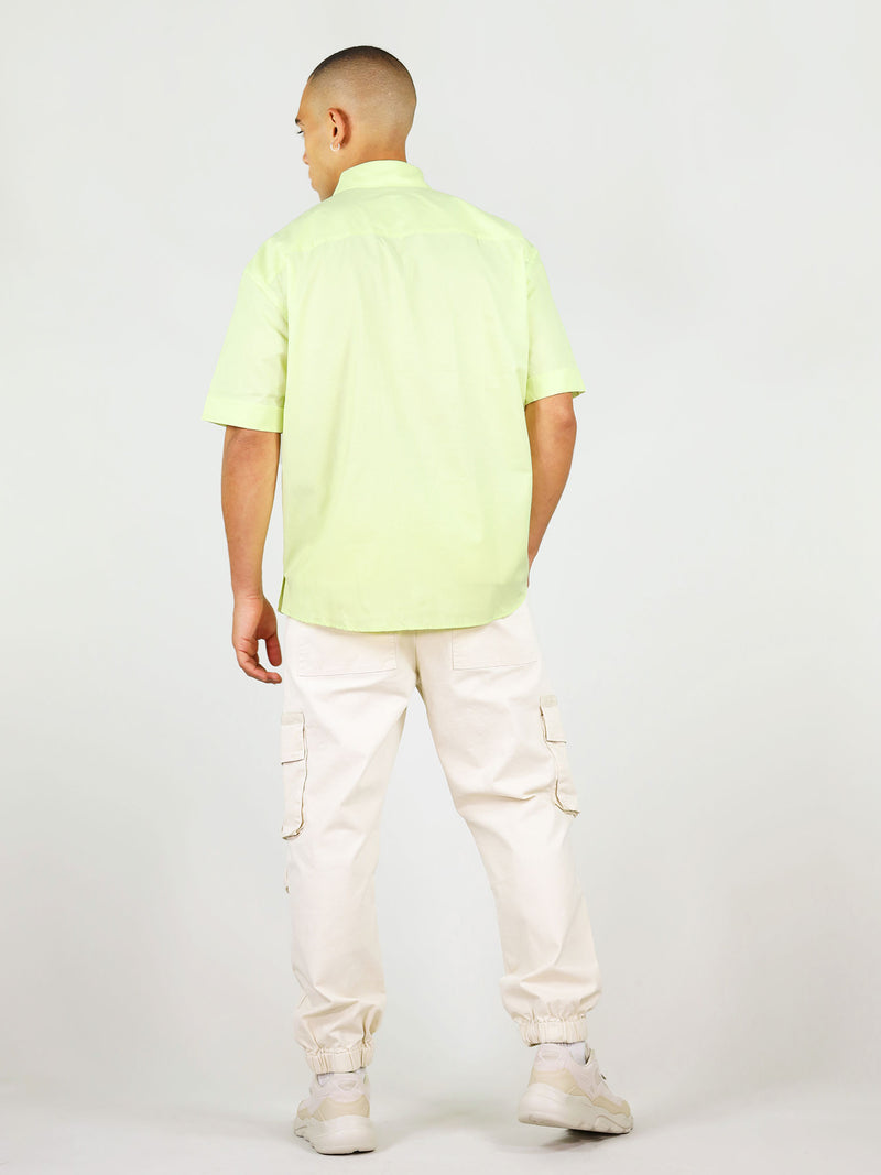 Back of light green menswear shirt with short sleeves by blonde gone rogue