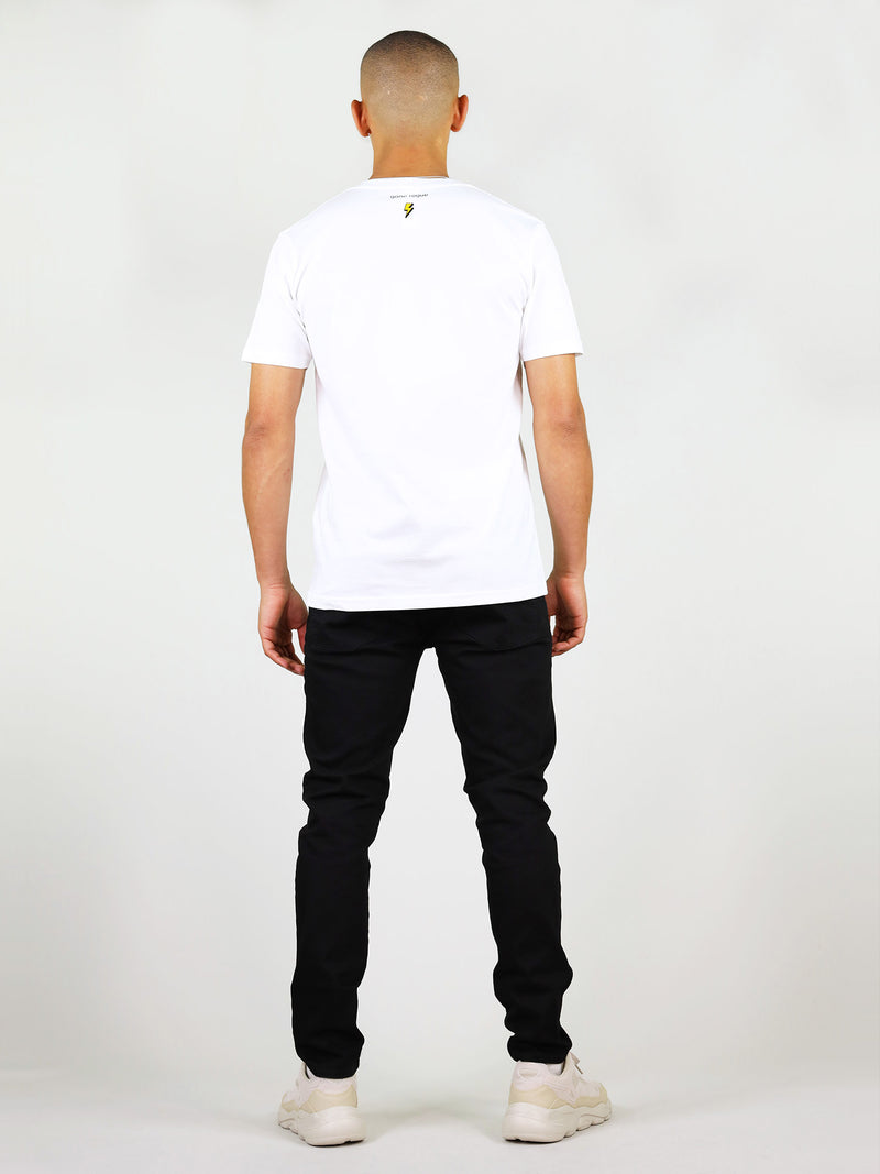 Back of menswear organic cotton t-shirt in white by blonde gone rogue