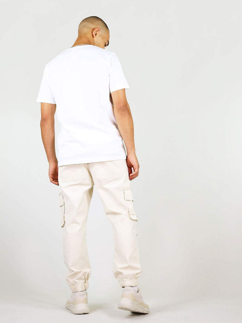 Back of white organic cotton tee for men by blonde gone rogue