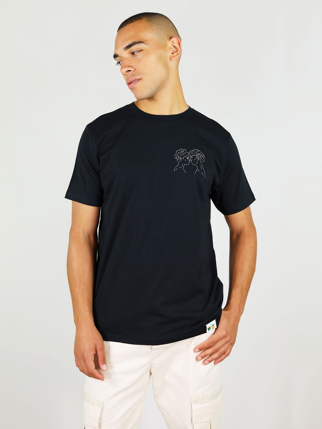 Lover's eyes is a 100% GOTS-certified organic cotton t-shirt in black