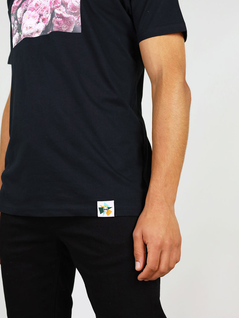 Logo detail on black organic cotton t-shirt for men by blonde gone rogue