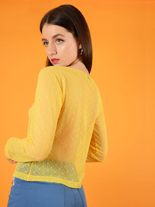 backshot of a beautiful floral lace top with long sleeves in yellow. design by blonde gone rogue.