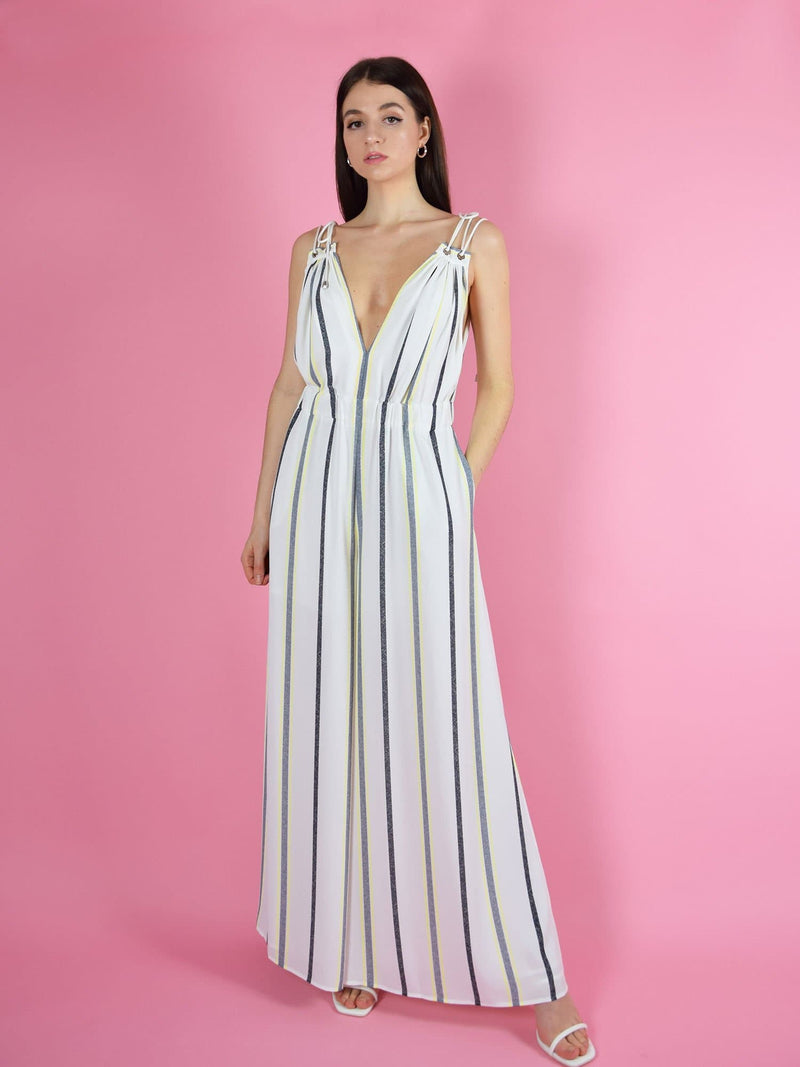 blonde gone rogue's white sustainable eternal summer jumpsuit featuring wide leg silhouette