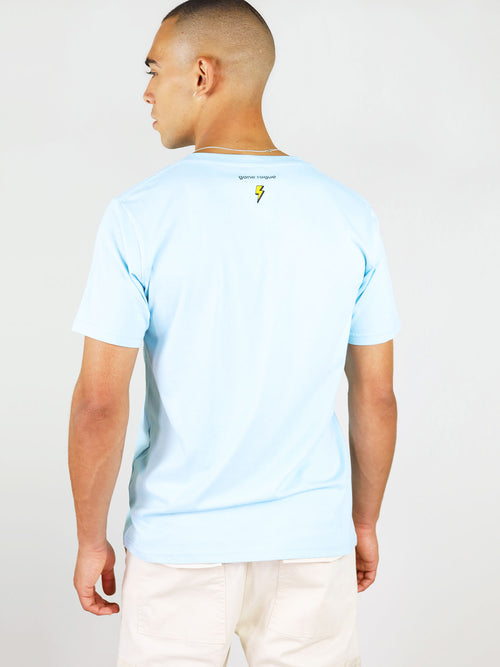 Gone rogue blue men's t-shirt from organic cotton by blonde gone rogue