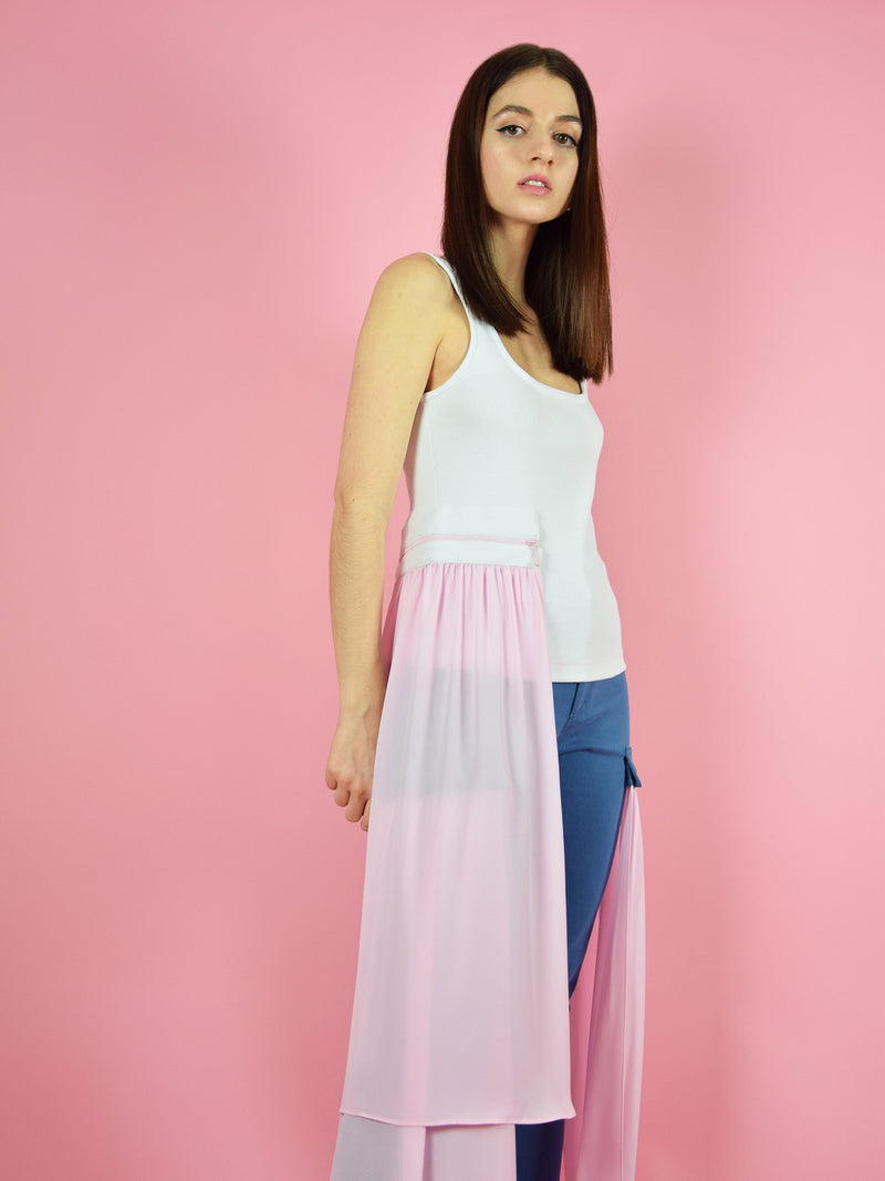 Sideshot of blonde gone rogue's summer breeze tanktop with pink detachable veil.