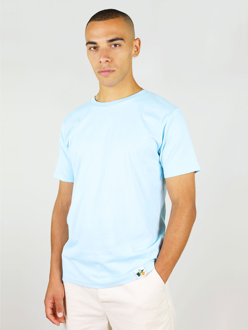 Light blue organic cotton t-shirt for men by blonde gone rogue