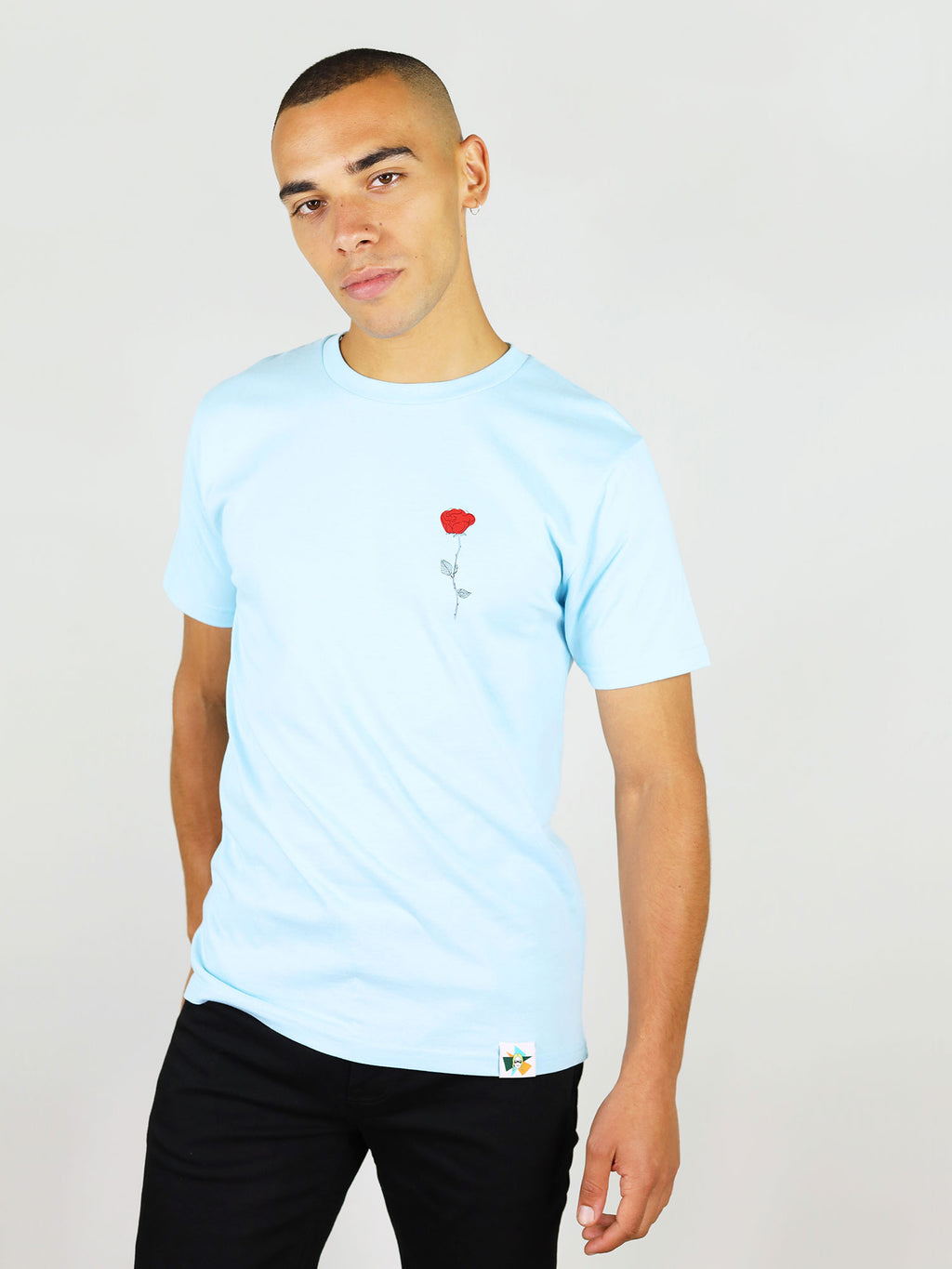 The rose organic cotton menswear tee in light blue by blonde gone rogue