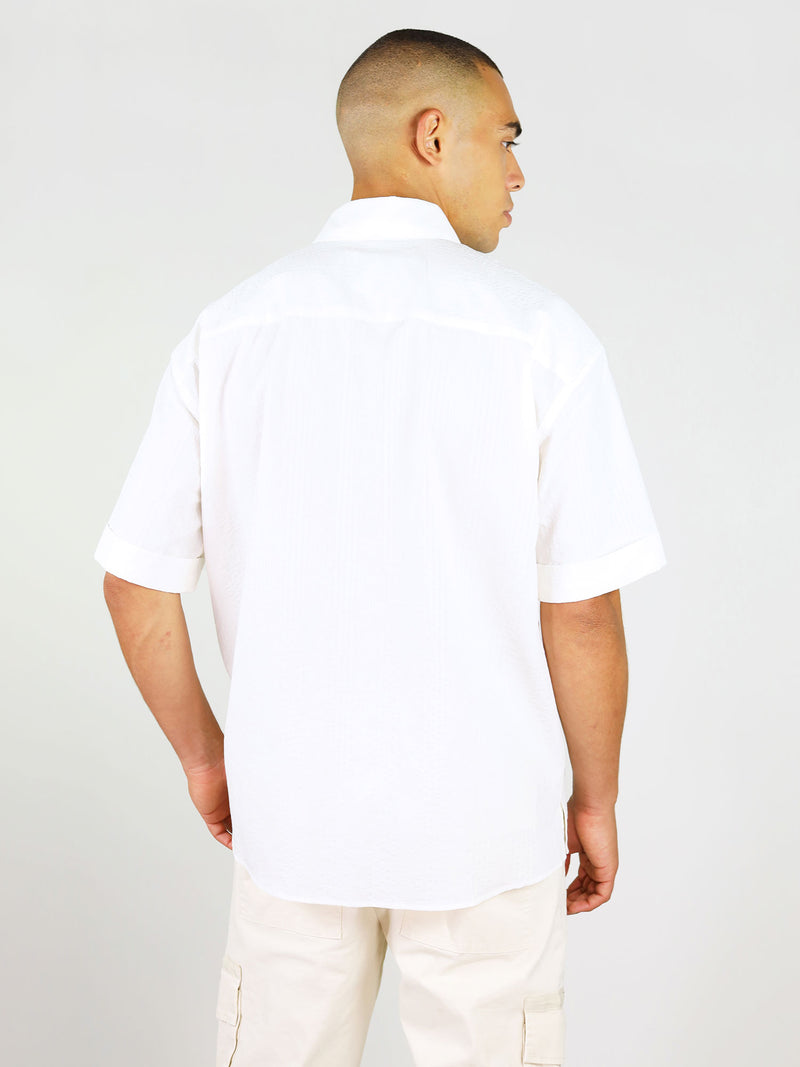 Back of white linen shirt with short sleeves by blonde gone rogue