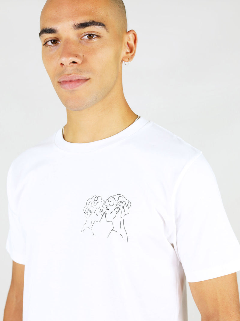 Lover's eyes line art print men's organic cotton t-shirt by blonde gone rogue
