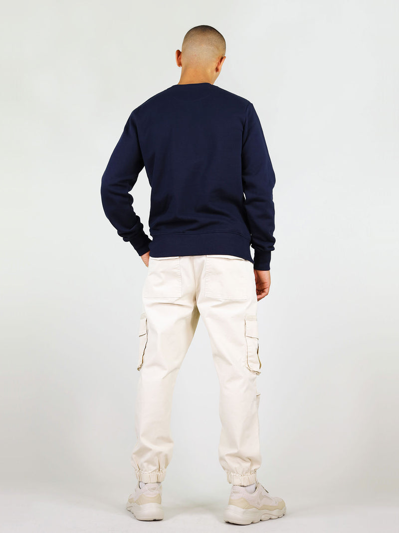 Back shot of navy heart organic sweatshirt. Crew neck and comfortable fit, made from 100% cotton.