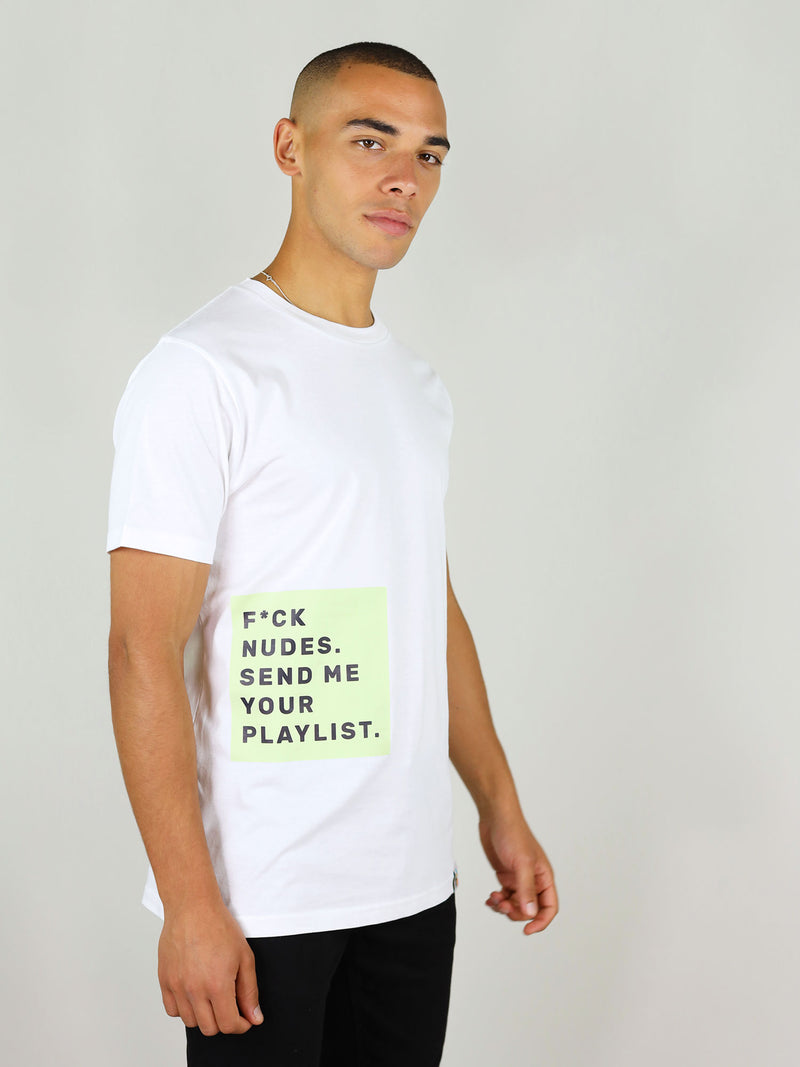 Fuck nudes organic cotton t-shirt for men in white