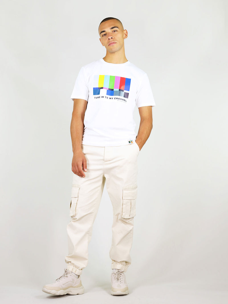 Tune in organic cotton menswear tee in white by blonde gone rogue