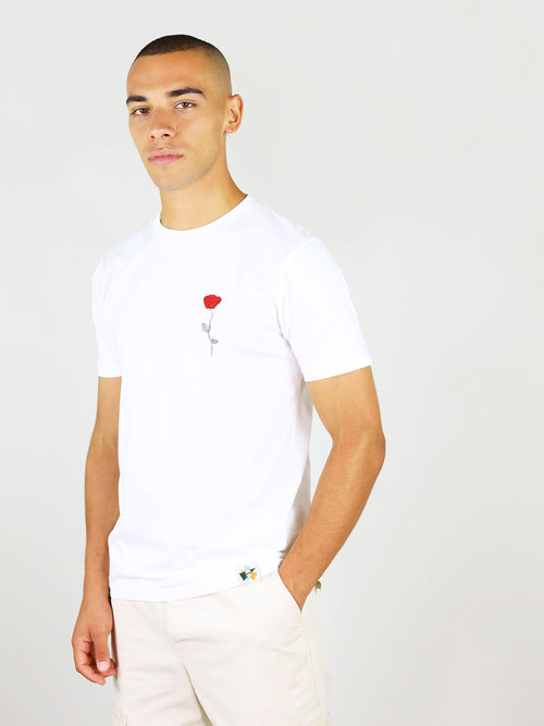 White organic cotton menswear t-shirt with a rose print by blonde gone rogue