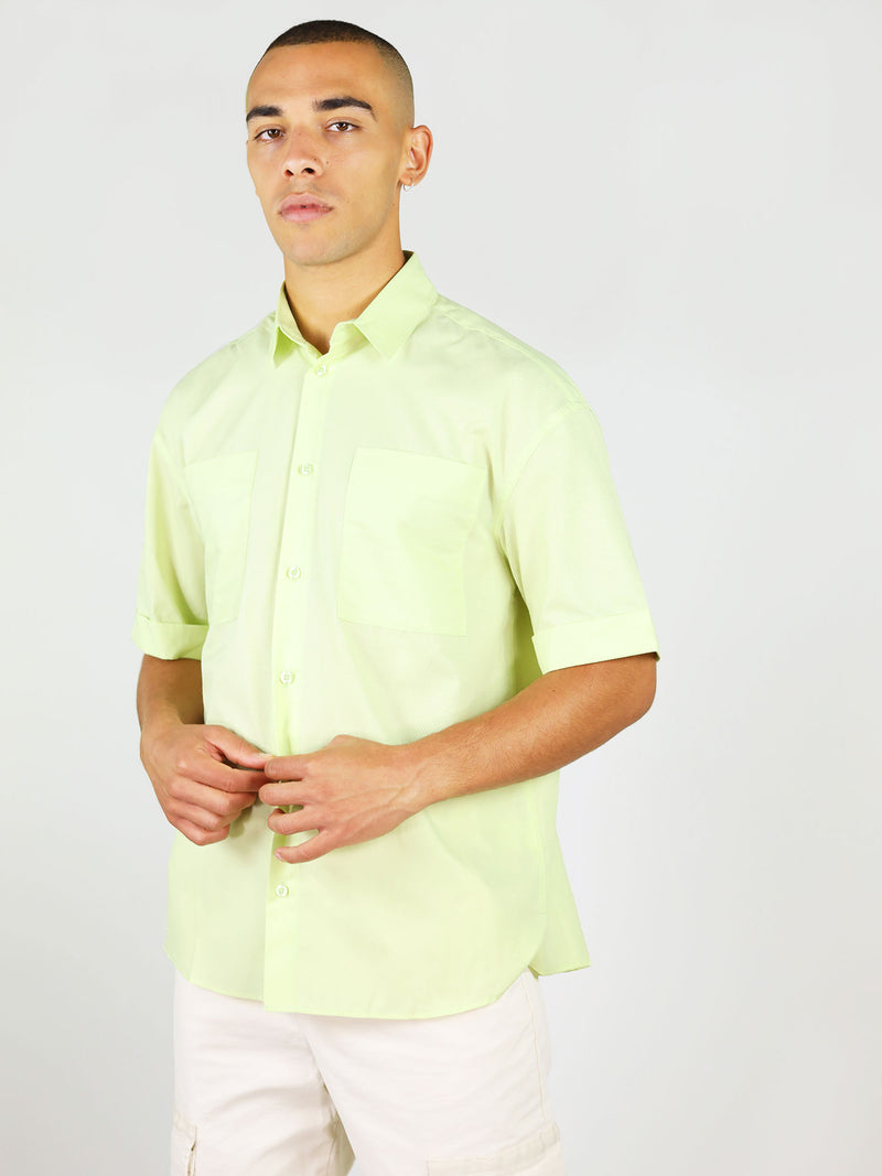 Menswear summer shirt in light green by blonde gone rogue