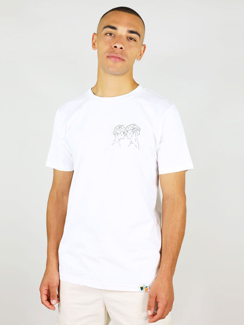 GOTs certified organic cotton men's t-shirt in white by blonde gone rogue