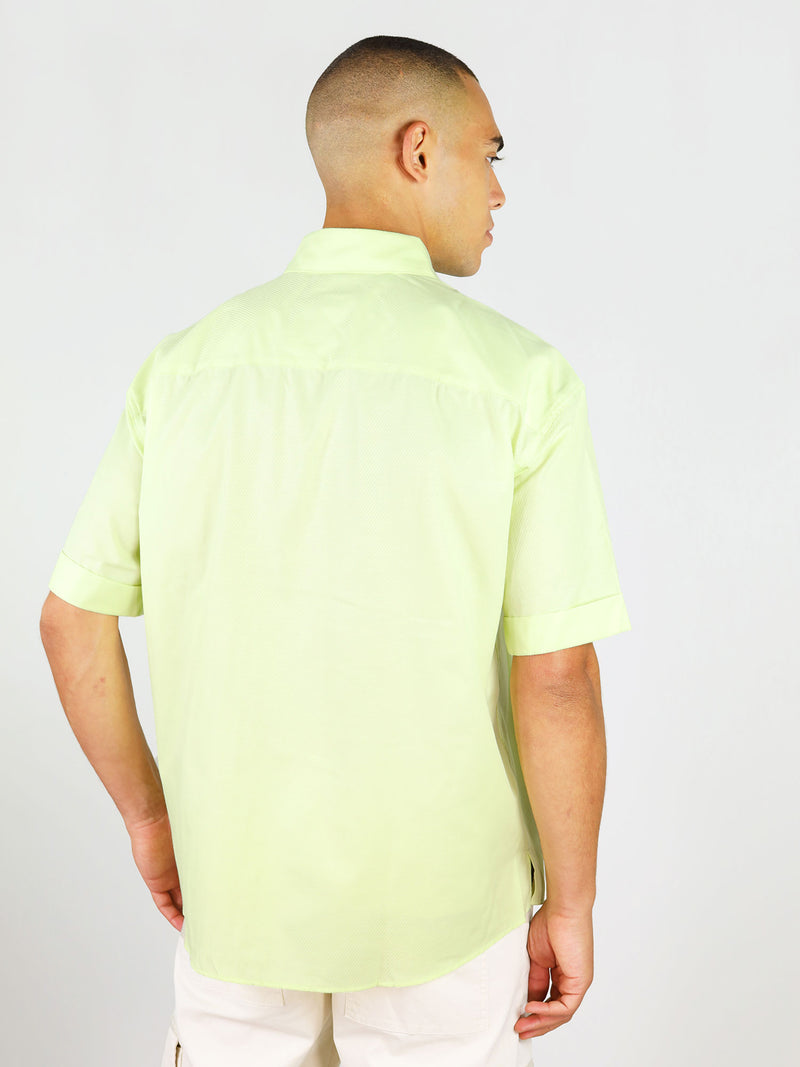 Back of short sleeve menswear shirt in mint by blonde gone rogue