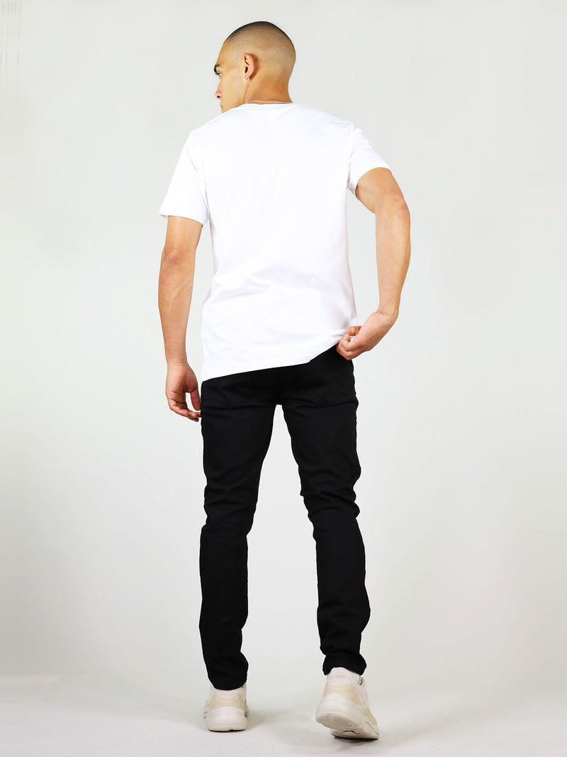 Back of white organic cotton t-shirt for men by blonde gone rogue