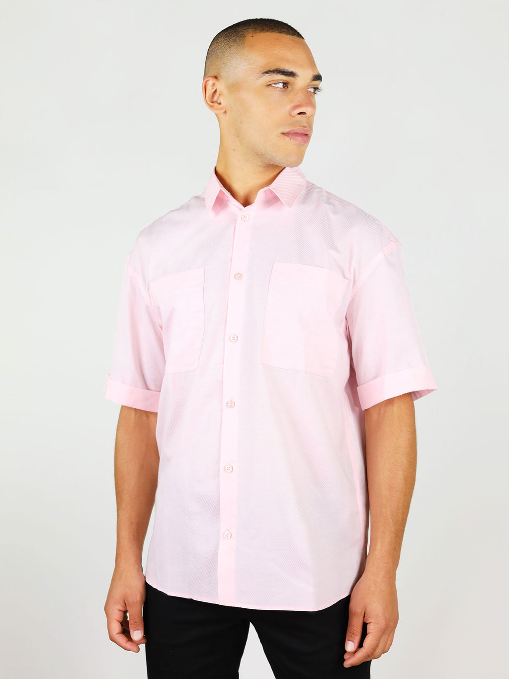 Pink menswear shirt with short sleeves by blonde gone rogue