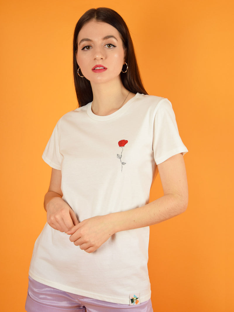 Frontshot of the rose women's tee by blonde gone rogue. The t-shirt is made from organic cotton and has a small print of a graphic rose on the chest.