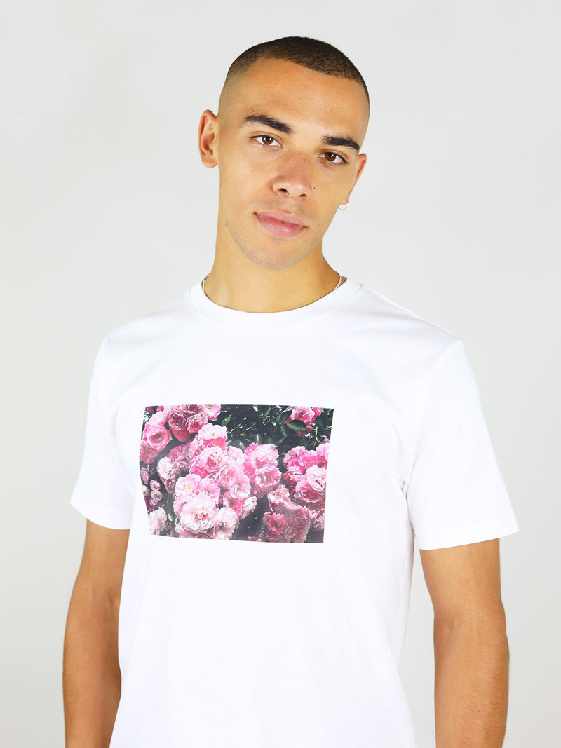 Roses print on white menswear shirt from organic cotton by blonde gone rogue