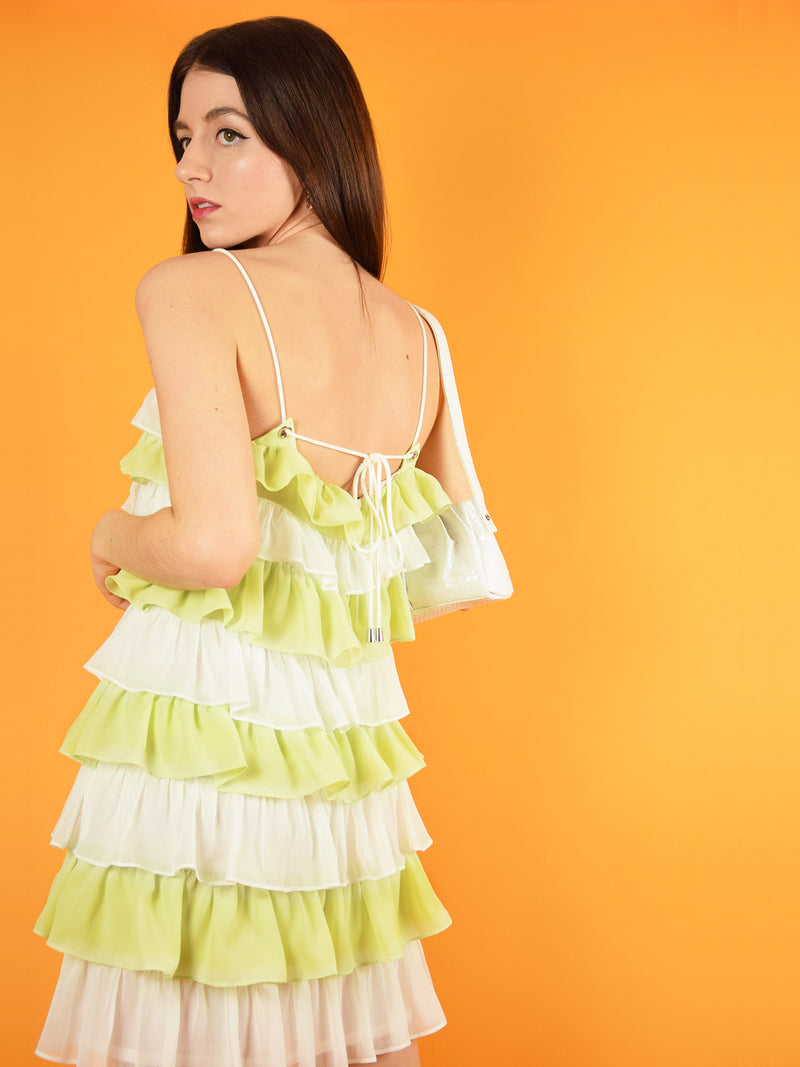 Backshot of the summer affair dress by blonde gone rogue. The mini dress comes in white and green.