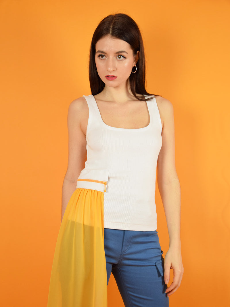 The summer breeze tank top in white with orange detachable veil. Design by blonde gone rogue.