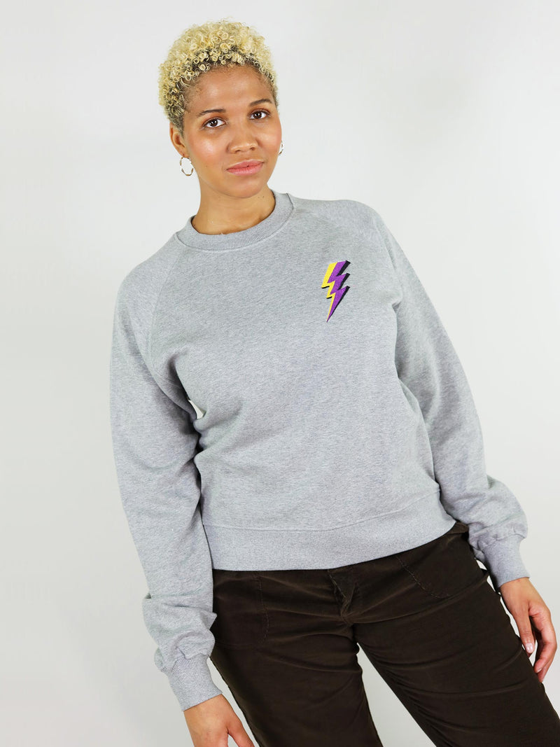 The thunder organic sweatshirt in grey is 100% organic cotton, very soft touch. It has slightly oversized fit with raglan sleeves. It also has thunder embroidery on the chest.
