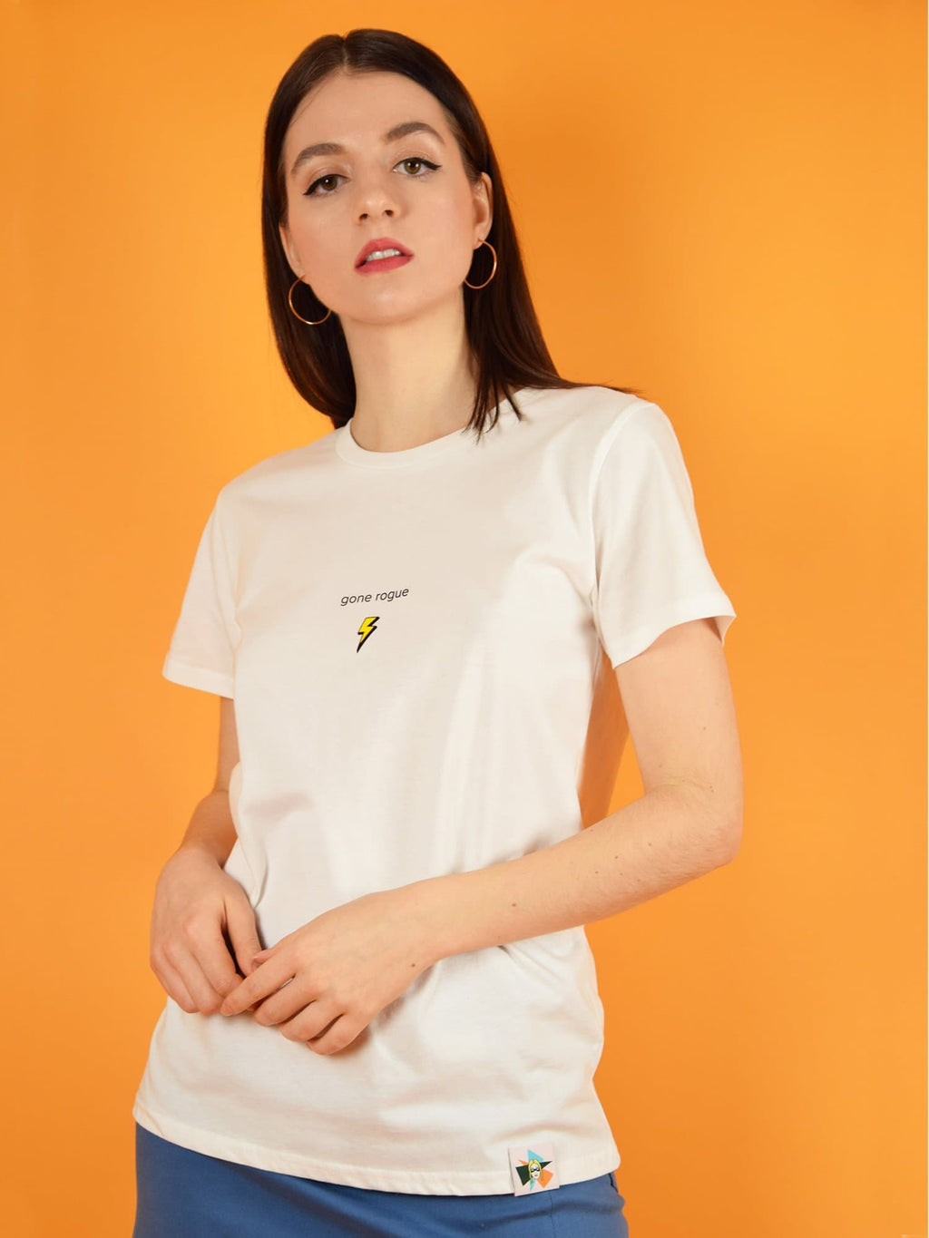 blonde gone rogue's gone rogue tee is an organic cotton t-shirt with soft touch. it features cool branded print with a lighting on the chest.