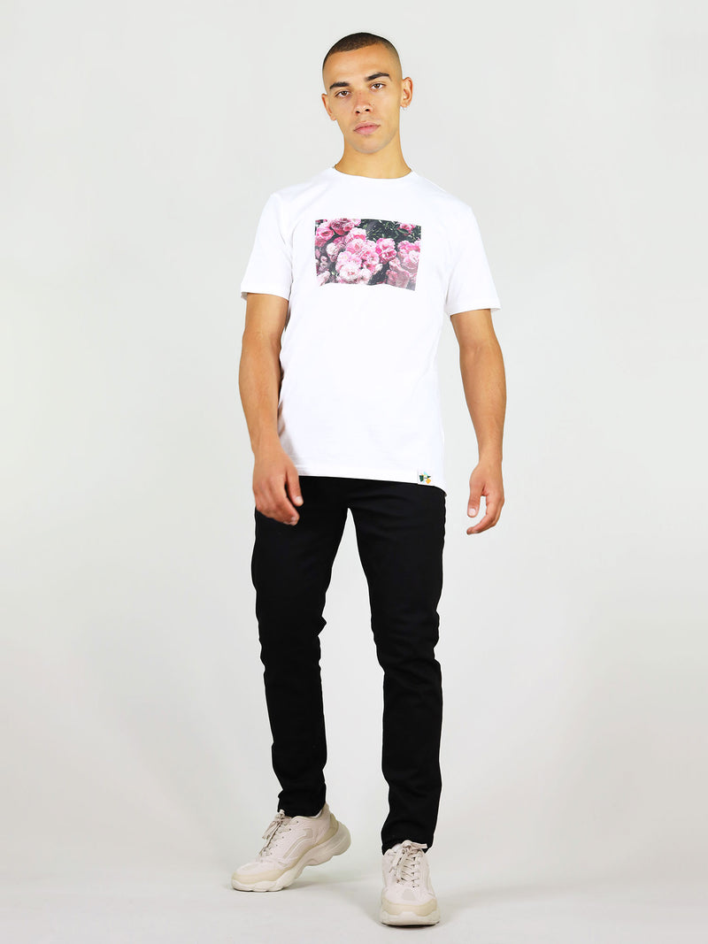 Rose garden photograph on white organic cotton t-shirt for men