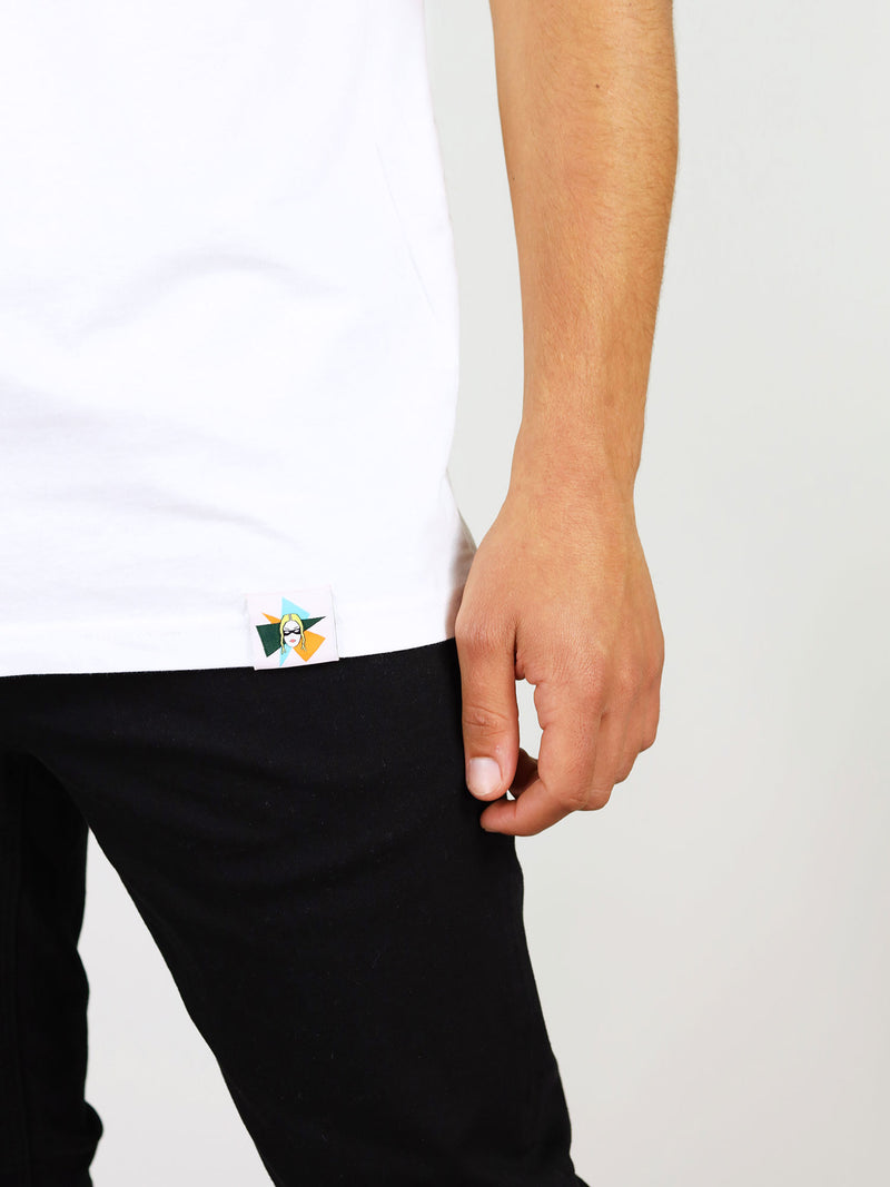 Colorful logo detail on menswear t-shirt from organic cotton by blonde gone rogue