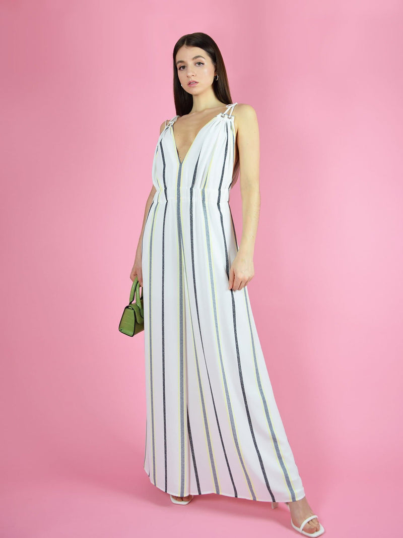 frontshot of the sustainable eternal summer jumpsuit in white
