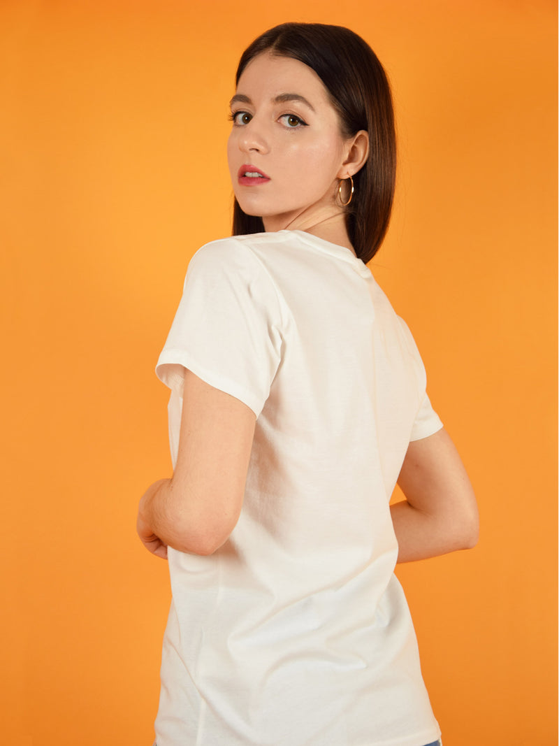 backshot of a white organic cotton tee by blonde gone rogue