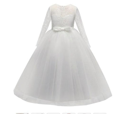 Robe Princesse Fille Blanche Manches Longues pas cher