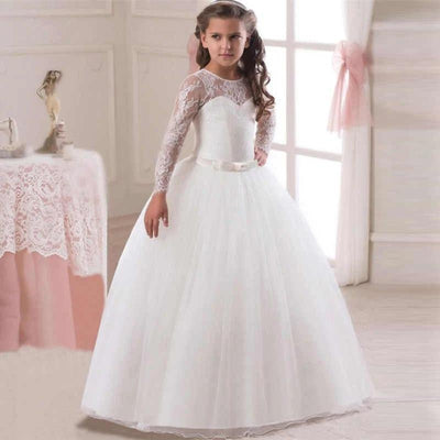 robe princesse fille blanche manches longues
