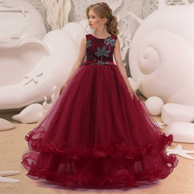 Robe Princesse Fille Rouge Bordeaux