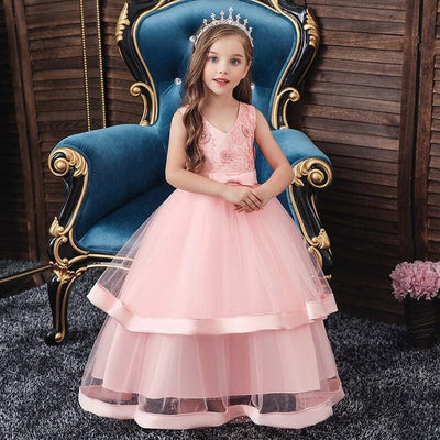 Robe Princesse Fille Rose Bal