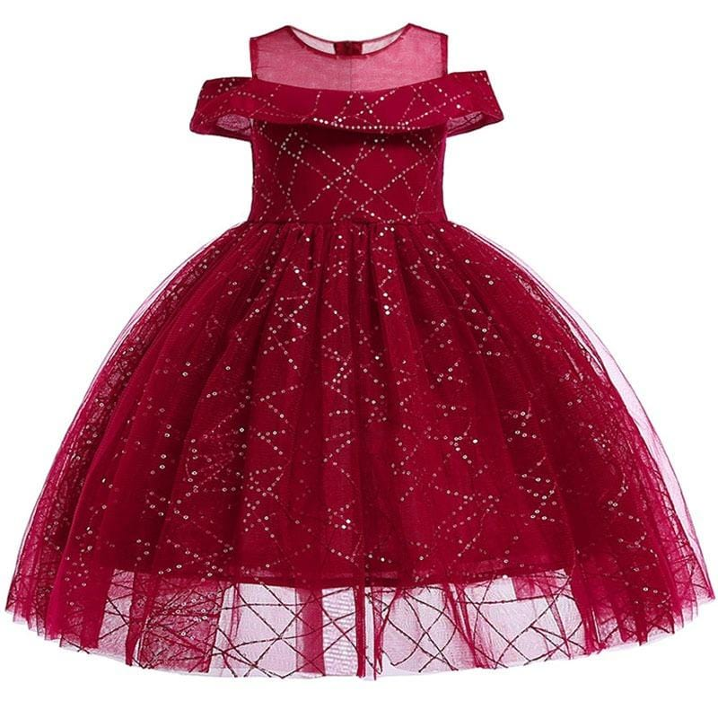 Robe Princesse Fille Rouge Pailletée