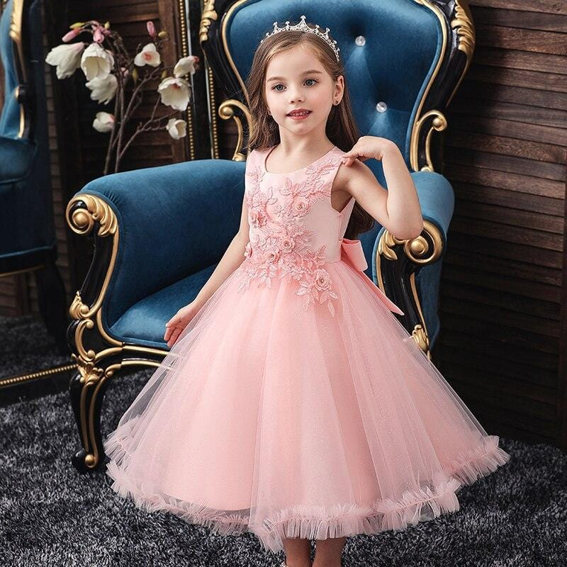 Robe Princesse Fille Mi Longue Rose