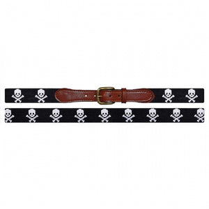 Smathers and Branson Jolly Roger Needlepoint Belt Black 2