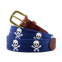 Load image into Gallery viewer, Smathers and Branson Jolly Roger Needlepoint Belt Blue 1