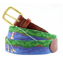 Load image into Gallery viewer, Smathers and Branson Fly Fishing Scene Needlepoint Belt 1