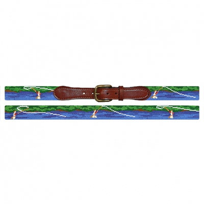 Fly Fishing Scene Needlepoint Belt